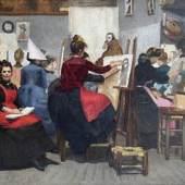 Lucie Attinger (Swiss, 1859-1928), Mon atelier, at Elliott Fine Art