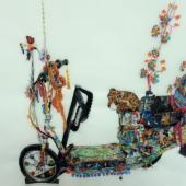 Abb.: Scooter, Chinatown Los Angeles, 2017 Aquarell auf Pergamin, 29,7 x 42 cm