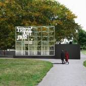 Render of the 2016 entryway for Frieze London Art Fair, designed by Universal Design Studio