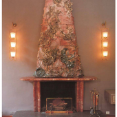 The fireplace at Villa Borsani, a collaboration with Lucio Fontana, 1947
