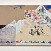 Shezad Dawood 'Expedition', 2016 Acrylic, screenprint and textile on canvas, 168 x 281cm © Shezad Dawood, courtesy Timothy Taylor