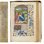 "Left: A manuscript of the ""Comoediae"" of Terenz, written in the 13th century Centre: Book of Hours, Use of Rome, in Latin [southern Netherlands (Bruges), c.1460-70 Right: John James Audubon, The Birds of America from drawings made in the United States, printed in New York between 1840 and 1844 in 7 volume"