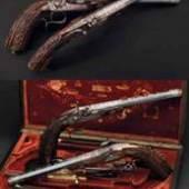Ein Paar Luxus-Perkussionspistolen im Kasten, Brun, Paris 1840. Zuschlag: 22000 Euro