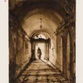 François-Marius Granet (1775-1849), A Monk in the Doorway of a Monastery Corridor, sold by Stephen Ongpin Fine Art