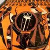 Die Göttin Athena im Kampf mit einem Giganten, Bauchamphora (Form B) des Schaukelmalers (Ausschnitt Seite A), attisch-schwarzfigurig, um 530 v. Chr., Sammlung Zimmermann Inv. 2, © Foto: Joachim Hiltmann