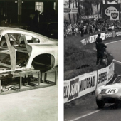 Master sheet metal worker Bert Brookes, in apron, affixes the magnesium/aluminum alloy panels to DP215 in 1963 (Credit - Courtesy of Ted Cutting/Aston Martin Lagonda). Phil Hill leading the NART Ferrari 330 TRI/LM on the opening lap of the 1963 24 Hours of Le Mans (Credit - Courtesy of LAT Images).