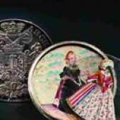 Silberner Schraubtaler mit wandelbaren Trachtenbildern, 1730/40. SP: 1400 Euro