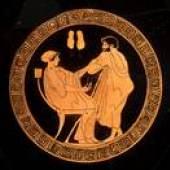 Werbung um eine junge Frau, Schale (Form B), attisch-rotfigurig, um 470–460 v. Chr., Stiftung Heidrun und  Dr. Manfred Zimmermann, © Foto: Joachim Hiltmann