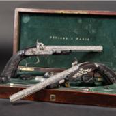 Paar Luxus-Perkussionspistolen im Kasten von 1845 aus dem Pariser Haus Devisme.