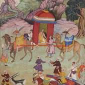 Eine Dame reist in einer Sänfte Dem Maler Govind zugeschrieben Mogul, ca. 1600 Pigmentmalerei auf Papier 34.6 x 23.5 cm (bemalte Fläche) Sammlung Eva und Konrad Seitz Foto: Rainer Wolfsberger