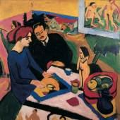 Abb. Ernst Ludwig Kirchner, Erich Heckel und Doris im Atelier, 1910/11 Chemnitz, Kunstsammlungen, Gunzenhauser