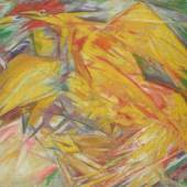 Michail Larionow, Hahn und Henne, 1912. Öl auf Leinwand, 68,2 x 65,5 cm. Foto: © Staatliche Tretjakow-Galerie, Moskau © Bildrecht, Wien, 2015