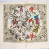 """Der der wohl berühmteste Himmelsatlas der Barockzeit, die """"Harmonia Macrocosmica"""" (Amsterdam 1708) des Andreas Cellarius, konnte mit zugeschlagenen 32.000 €"""