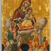 """Ikone, Tempera auf Holz, Goldgrund, """"Gottesmutter Lambovitissa mit den Heiligen Eleutherius und Alexander"""", Griechenland Limitpreis:500 €"""