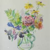 """Oskar Kokoschka, """"Sommerblumen im Glaskrug"""", Farblithographie von 1969, mit persönlicher Widmung und Signatur, zeitgenössisch gerahmt 1.500 €"""