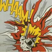 """870  Roy Lichtenstein, """"WHAAM!"""", Diptychon, zwei Fotolithografien (1963), Poster-Edition The Tate Gallery London von 1984, signiert, o. Rahmen Roy Lichtenstein, 1923 New York – 1997 ebd., Diptychon """"WHAAM!"""" 1.800 €"""