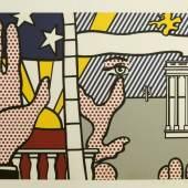 """890  Roy Lichtenstein, """"Inaugural Print"""", signierte Farbserigraphie von 1977, Künstlerabzug, o. Rahmen Roy Lichtenstein, 1923 New York – 1997 ebd., Geometrisch-comicartige Landschaftskomposition mit Hand, Sonne 3.500 €"""