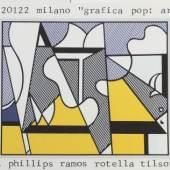 """898  Roy Lichtenstein, """"Cow going abstract"""", dreiteilige Farboffsetlithografie von 1985, signiert Edition Plura Edizioni Mailand, o. Rahmen Roy Lichtenstein, 1923 New York – 1997 ebd., dreiteilige Darstellung 600 €"""