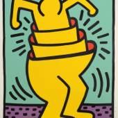 """947  Keith Haring, """"Untitled (Cup Man)"""", signierte Künstlerabzug/Farbserigraphie von 1989, o. Rahmen Keith Haring, 1958 Reading/Pennsylvania - 1990 New York, Cup Man in Gelb vor blaugrünem Grund 1.800 €"""