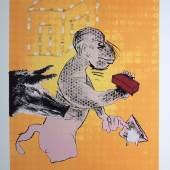 """Jörg Immendorff, """"Maureraffe"""", farbiger Siebdruck von (20)05, signiert Jörg Immendorff, 1945 – 2007, Affe m. Maurerkelle u. Backstein, gefolgt v. einem Schwein, Siebdruck, 84,5 x 60,5 cm, sign., dat., bez. e.a., o. Rahmen VG BILD-KUNST. Limit::120 €"""