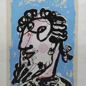 Markus Lüpertz, Männerbildnis, signierte Farblithographie Markus Lüpertz, *1941, Mann mit Bart u. Zopfperücke, Farblithographie, 91,5 x 63,5 cm, monogram., bez. e.a., o. Rahmen VG BILD-KUNST.  Limit::120 €