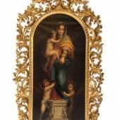 """talienischer Meistert des 17./18. Jhs. Altarflügel. """" Madonna mit dem Jesusknaben """" Schätzpreis:1.200 €"""