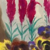 Nolde, Emil 1867 Nolde - 1956 Seebüll  Stiefmütterchen und Spiraea. Um 1930. Aquarell auf Japan. 45,6 x 33,8cm. Signiert unten rechts: Nolde. Rahmen.  Es liegt eine Photoexpertise von Prof. Dr. Martin Urban, Nolde-Stiftung Seebüll, vom 16. Februar 1985 vor.  Provenienz: Galerie Neher, Essen Privatsammlung Deutschland  Literatur: Urban, Martin: Emil Nolde - Blumen und Tiere, Aquarelle und Zeichnungen, Köln 1980 (Lt. Expertise von Prof. Urban)  Blumen haben im Leben von Emil Nolde eine immense Bedeutung, nicht nur was seine Malerei betrifft. Stets grenzen an seine Ateliers - sei es auf der Insel Alsen, auf der Utenwarf an der dänischen Westküste oder in Seebüll - meist selbst gestaltete Gärten mit üppiger Blütenpracht. In dieser Umgebung findet er die Anregungen für seine Blumenbilder, die er ab 1906 zunächst ausschließlich in Öl und seit etwa 1918/20 auch mit Aquarellfarben malt.