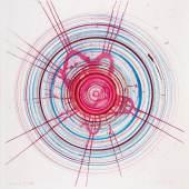 """Hirst, Damien 1965 Bristol/Großbritannien  Global-a-go-go-for Joe. 2002. Gouache und Farbkreiden über Farbradierung auf Velin. 91,5 x 71cm. Signiert unten rechts: Damien Hirst. In der Platte signiert sowie datiert: 05.07.02. Rahmen. Die zugrundeliegende Farbradierung gehört zu der 23-teiligen Suite """"In a spin, the action of the world on things Vol. I"""".  Das Blatt ist im Damien Hirst Archiv unter der Nummer DHS 6918 registriert.  Die ersten """"Spin-Paintings"""" schuf Damien Hirst bereits 1993 anlässlich der von Joshua Compston organisierten """"A Fête Worse than Death"""", indem er als Clown verkleidet die Besucher dazu animiert, mit einer Töpferscheibe automatische Zeichnungen anzufertigen. Das Konzept gefiel ihm so gut, dass er es im darauffolgenden Jahr in seiner Berliner Ausstellung """"Damien Hirst making beautiful drawings an installation"""" (Galerie Bruno Brunnet Fine Arts) weiterentwickelte. Seitdem hat sich Hirst in den verschiedensten Medien, von der Malerei über den Tiefdruck, dem Thema des Spin angenähert. Das Portfolio """"In a spin, the action of the world on things Vol. I"""", aus dem die dieser Arbeit zugrunde liegende Radierung stammt, entstand 2002. Etinne Lullin beschreibt in Contemporary Art in Print (London, 2006, S. 314), wie der Künstler hier vorgeht. Zu diesem Zweck wurden die Kupferplatten auf die von Hirst entwickelte """"Spin painting machine"""" montiert, die unterhalb einer erhöhten Plattform rotierten, von der aus der Künstler die Platten bearbeitete. Die Titel der Arbeiten entwickelte Hirst zusammen mit einem befreundeten DJ, oft haben sie mit Musik oder Popkultur zu tun. Die vorliegende Arbeit wurde nach dem Druck noch einmal überarbeitet und ist somit ein Unikat. Preise & Bieten Schätzpreis: 18.000 - 24.000 €"""