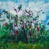 Ferdinand Melichar in seinen Malereien mit Wäldern und Feldern