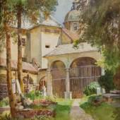 Marie Egner (Radkersburg 1850 - 1940 Wien) Stift St. Peter in Salzburg Gouache auf Malkarton, signiert 32 x 28 cm (Galerie Stallburg)