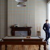 Featuring  a  vintage  oak  pool  table,  fitted  in  Huntsman-exclusive  Gregory  Peck  bespoke  tweed