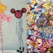 """Abbildungen:  Christy Astuy, """"Brennender Busch"""", 2012, Öl auf Leinwand, 130 x 100 cm, © VBK  Karin Pliem, """"Mutabilität II"""", 2011, Öl auf Leinwand, 130 x 115 cm, © Foto: Robert Zahornicky"""