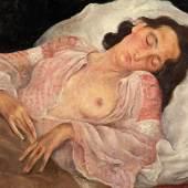 """Albert Birkle """"Die Schlafende"""" Öl auf Karton, signiert, 65 x 86 cm Antiquitäten Kunsthandel Freller"""