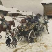 Josef von Brandt  Abfahrt zu Jagd  Öl auf Leinwand | 64 x 120,5cm  Ergebnis: 108.800 Euro