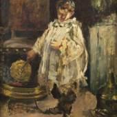 Irolli, Vincenzo.  1860 - Neapel - 1949 Knabe heizt ein Kohlebecken an. Öl/Lwd. Sign. 63 x 49 cm. Aufrufpreis:900 EUR