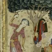 Unterhaltung im Park, Türkische Miniaturmalerei im Stil von Levni, um 1700, Deckfarben und Gold auf Papier