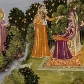 Dame auf der Schaukel in Gesellschaft unter einem Mangobaum, Indien, 1. Hälfte 18. Jahrhundert, Deckfarben und Gold auf Papier