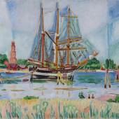 """Ivo Hauptmann 1886 Erkner - 1973 Hamburg - """"Segelschiff vor Travemünde"""" - Öl/Lwd. 74 x 92,5 cm. Aufrufpreis:15.000 EUR Schätzpreis:20.000 EUR"""