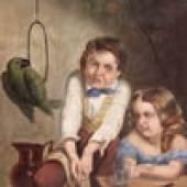 Katalog-Nr. 287 - J.F. Downs (19. Jahrhundert) - Öl auf doublierter Leinwand von 1854, Geschwisterpaar mit Papagei