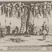 """Jacques Callot (1592–1635), Der Galgenbaum, aus der Reihe """"Die großen Schrecken des Krieges"""",  Radierung, Alte Galerie, Foto: Universalmuseum Joanneum/N. Lackner"""
