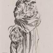 """Jacques Callot (1592–1635), """"Die Bettlerin mit drei Kindern"""", aus der Reihe """"Die Bettler"""", um 1622,  Radierung, Alte Galerie"""
