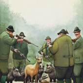 """Jägerparadies Kroatien, 1999 CopyrightManfred Deix AutorManfred Deix BeschreibungSammlung des Landes Niederösterreich, """"Für immer Deix!"""", neue Dauerpräsentation ab 7.9.2012"""