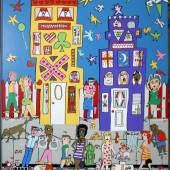 """James Rizzi, """"Moving on"""", 3 D-Farbserigrafie mit ca. 70 beweglichen Teilen von (19)90, sign., im Bestzustand James Rizzi, 1950 – 2011 Schätzpreis:7.000 - 8.000 EUR"""