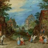 Nr. 387 817 Jan Brueghel d. Ä. Dorfstraße mit tanzenden Bauern Öl auf Kupfer, 11 x 16 cm Ergebnis: € 360.000,-