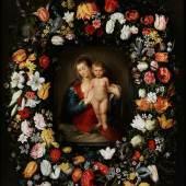 """Jan Brueghel der Jüngere (1601 Antwerpen """""""" 1678)und Otto van Veen (1556 """""""" 1629) MARIA MIT DEM KINDE INMITTEN EINES BLÜTENKRANZES Öl auf Holz. Parkettiert. 103,4 x 128,4 cm. Schätzpreis:120.000 - 180.000 EUR"""