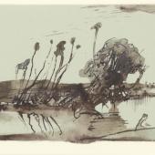 HORST JANSSEN (1929–1995) Landschaft in Holstein – Hommage à Claude Lorrain, 4. August 1972