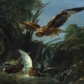 Jean-Baptiste Oudry, Raubvogel, der zwei Enten angreift (c) Staatliche Schlösser, Gärten und Kunstsammlungen Mecklenburg-Vorpommern