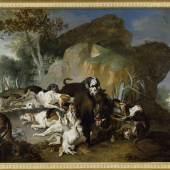 Jean-Baptiste Oudry, Wildschweinjagd mit elf Hunden, 1734 (c) Staatliche Schlösser, Gärten und Kunstsammlungen Mecklenburg-Vorpommern