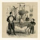 Jean Eugene Robert-Houdin bei der Vorführung des 'Wunderbaren Orangenbaums', 1844, Sammlung Wittus Witt
