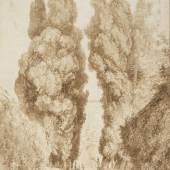 Jean-Honoré Fragonard | Die große Zypressenallee im Park der Villa d´Este in Tivoli, um 1774 | Albertina, Wien